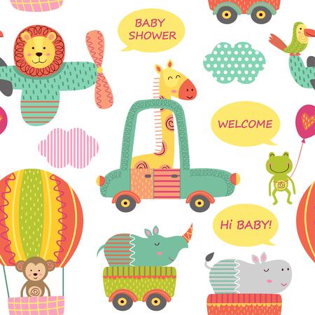 nahtlose Muster mit Baby Dschungel Tiere im Verkehr - Vektor-Illustration, EPS