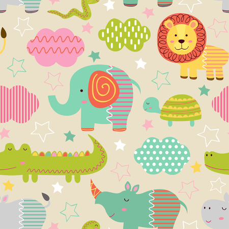 Seamless pattern with baby jungle animals - vector illustration, eps