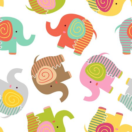 A vector illustration of different colors of baby elephant.