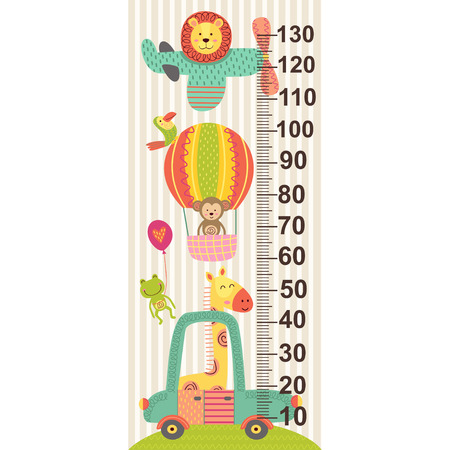 Height scale with baby jungle animals vector illustration