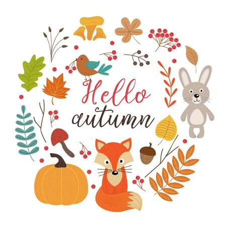 Set of isolated autumn elements Illustration
