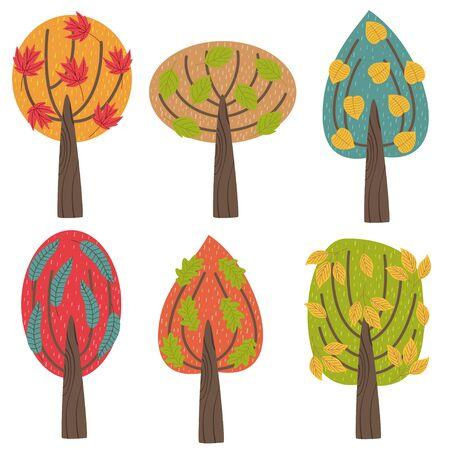set of isolated autumn trees - vector illustration, eps