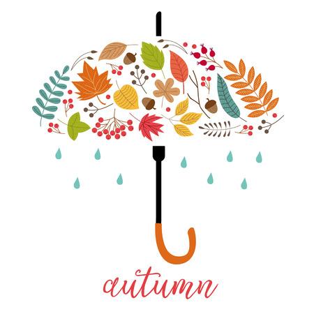 card autumn leaves as umbrella - vector illustration, eps