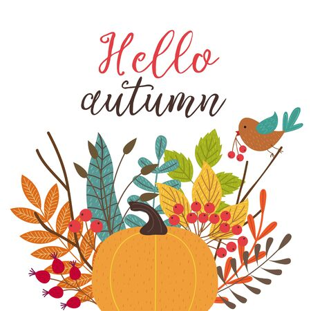 card Hello autumn - vector illustration, eps