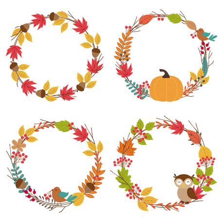 set of isolated autumn frames - vector illustration, eps