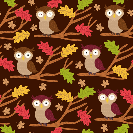 seamless pattern with owl on branch - vector illustration, eps