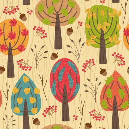 Pattern with autumn trees