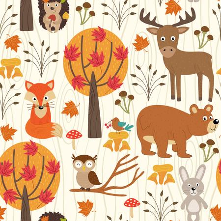 seamless pattern with autumn forest - vector illustration, eps Illustration