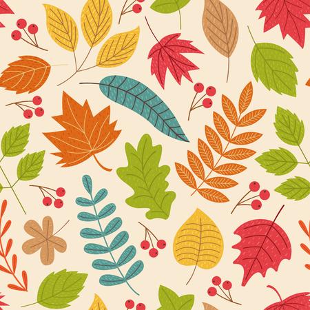 Pattern with autumn leaves - illustration, eps Ilustração