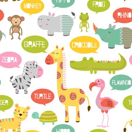 Pattern with jungle animals - illustration, eps Illustration