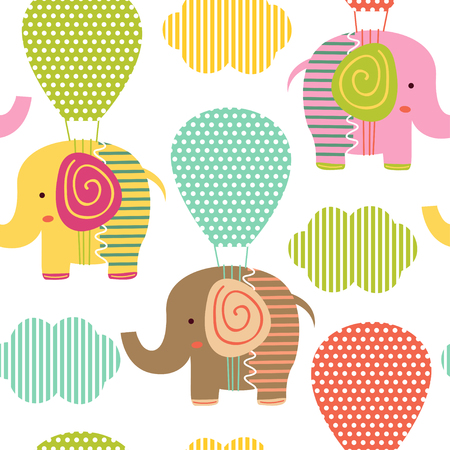 Pattern with elephant on air balloon - illustration, eps