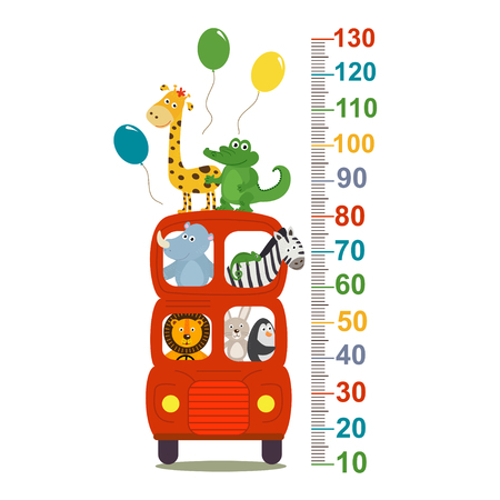 A growth measure with animals in london red bus - vector illustration, eps