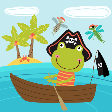 frog pirate in the boat - vector illustration, eps