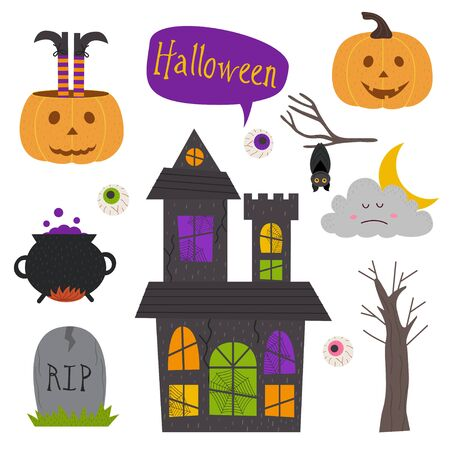 Set of isolated Halloween elements Illustration