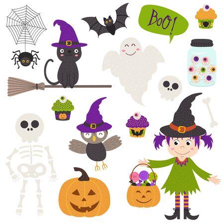 Set of isolated Halloween elements Illustration