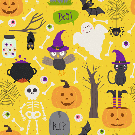Seamless pattern with Halloween elements Illustration