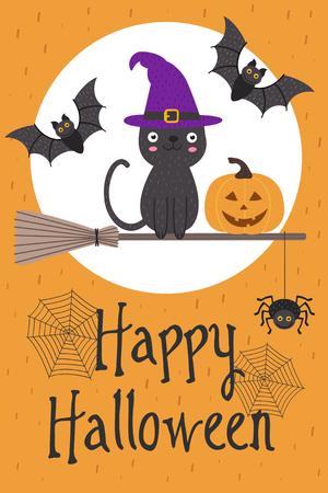Halloween card design with cat on broom Illustration