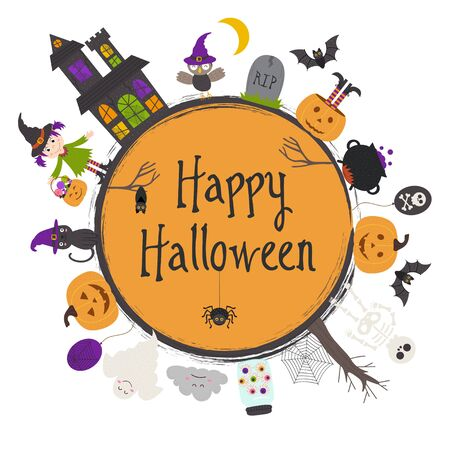 Happy Halloween frame vector illustration