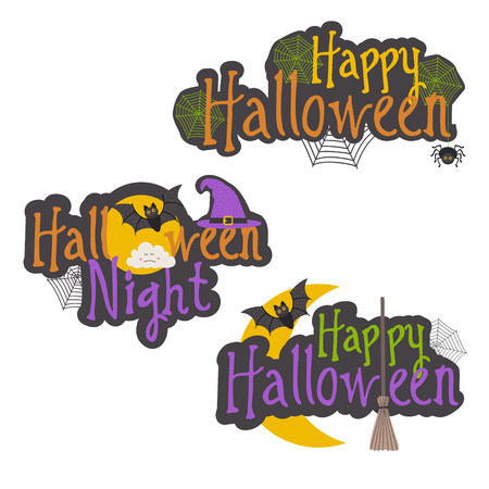 Set of isolated Halloween message designs