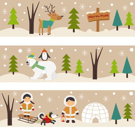 antarctica: Set of horizontal banners with Eskimos and polar animals vector illustration.