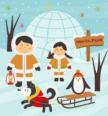 antarctica: Eskimo boy and girl with arctic animals - vector illustration, eps