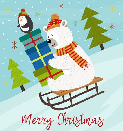 Merry Christmas card with polar bear and penguin on sled - vector illustration, eps