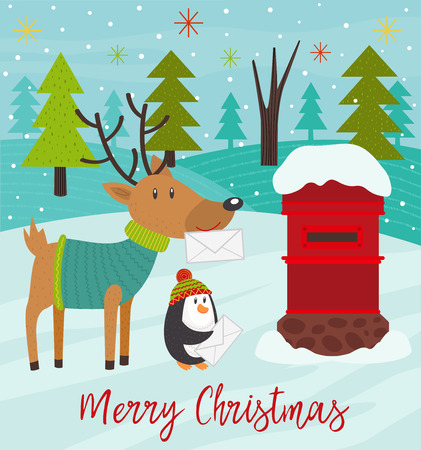 Polar animals send letters to Santa Claus - vector illustration, eps