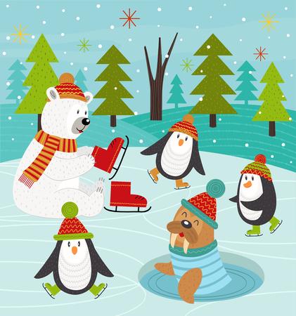 animali polari sulla pista di pattinaggio - vector l'illustrazione, ENV
