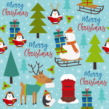 seamless pattern Merry Christmas with arctic animals - vector illustration, eps