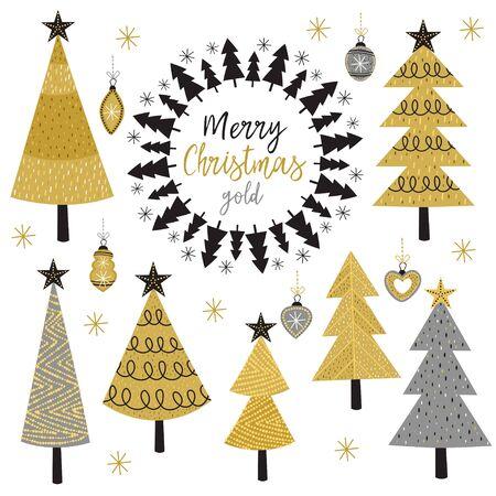 Set von isolierten Weihnachtsbaum - Vektor-Illustration Standard-Bild - 88259895