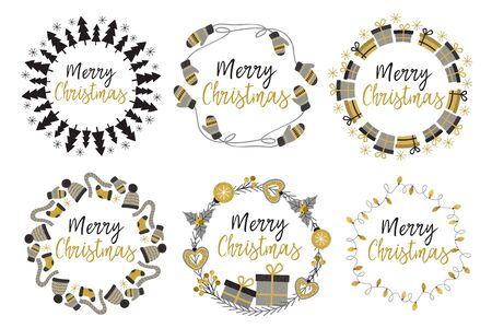 set of isolated Christmas gold frames - vector illustration, eps