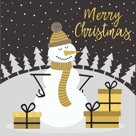 Merry Christmas card with snowman - vector illustration Illustration