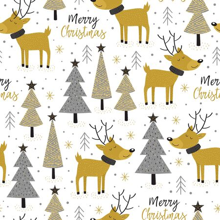 seamless pattern gold Christmas trees and deer - vector illustration.