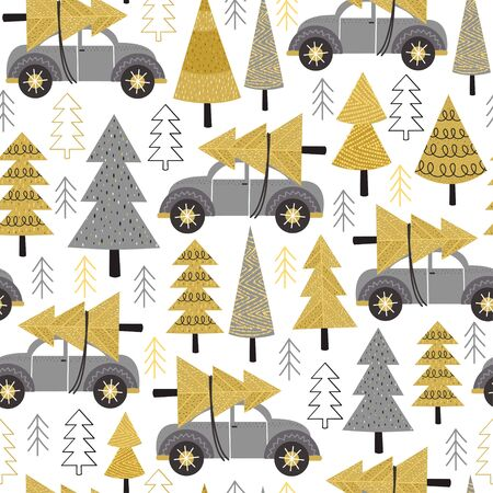 seamless pattern gold Christmas trees and car - vector illustration