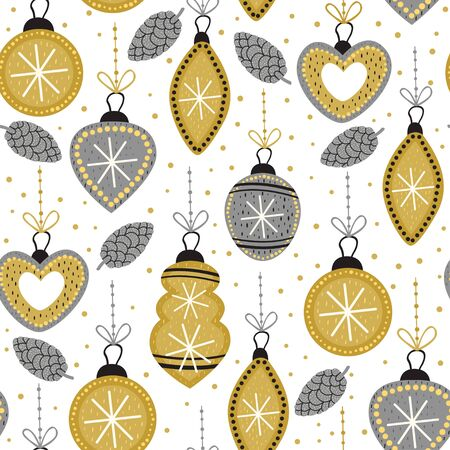 seamless pattern with gold Christmas decorations - vector illustration, eps