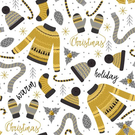 Pattern with gold Christmas clothes Illustration