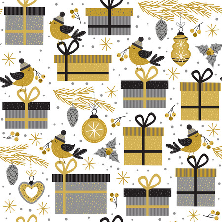 seamless pattern with gold gifts and bird - vector illustration, eps Illustration