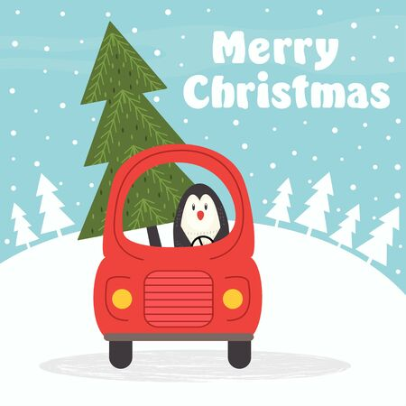 Christmas card with penguin in car - vector illustration, eps