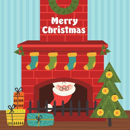 Merry Christmas card with a Santa Claus inside a fireplace - vector illustration, eps Illustration