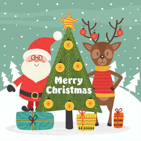 Merry Christmas card with Santa Claus and deer - vector illustration, eps