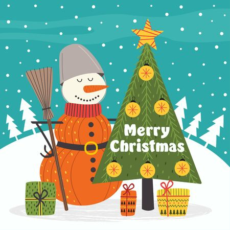 Merry Christmas card with snowman - vector illustration, eps Illustration