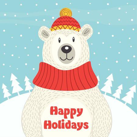 antarctica: Holiday card with polar bear - vector illustration, eps