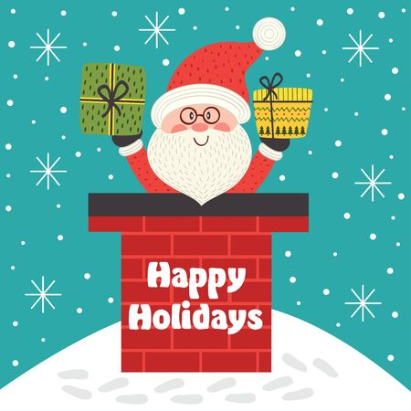 holiday card with Santa Claus inside chimney - vector illustration, eps Illustration