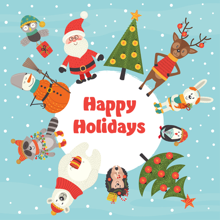 holiday card with Christmas characters - vector illustration, eps Illustration