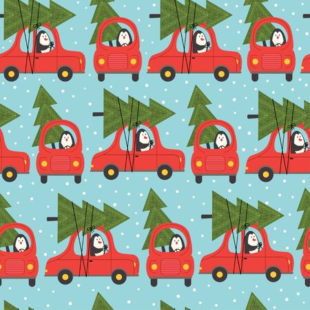 Seamless pattern of penguin in a car and Christmas tree. Illustration