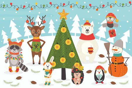 Kerstmiskarakters - vectorillustratie, eps Stock Illustratie