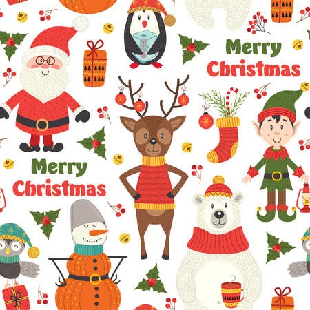 seamless pattern with Christmas characters on white background - vector illustration, eps Çizim