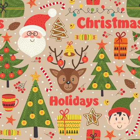 Seamless pattern with Christmas elements, vector illustration. Illustration