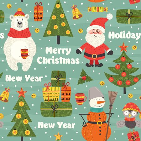 Seamless pattern with Christmas characters - vector illustration