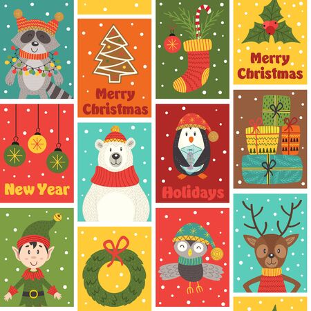 seamless pattern with winter holiday characters and decorations - vector illustration, eps